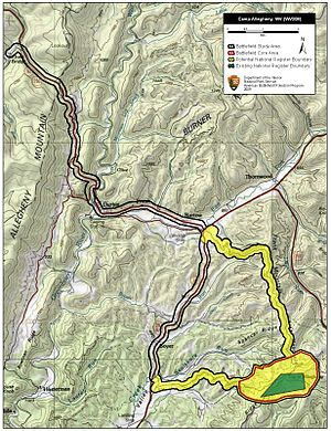 Battle of Camp Allegheny - Map of Camp Allegheny Battlefield core and study areas by the American Battlefield Protection Program.