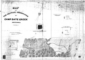 Hualapai War - A map of Camp Date Creek and the adjoining Hualapai reservation in 1869.