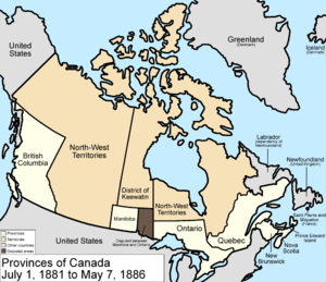 Northwest Territories election, 1885 - Map of the provinces and territories of Canada as they were between 1881 and 1886.