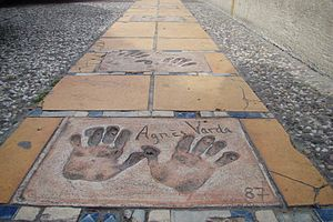 Agnès Varda - Varda's handprints at Cannes