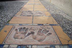 Agnès Varda - Varda's handprints at Cannes