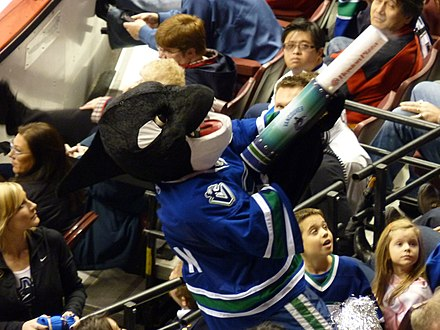 Fin, the official mascot of the Vancouver Canucks, in 2009 Canucks Mascot Fin 2009.jpg