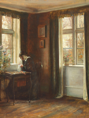 Interior. The artist's wife sewing by the window.