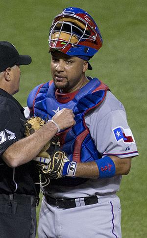 Carlos Corporán - Corporán during his tenure with the Texas Rangers in 2015