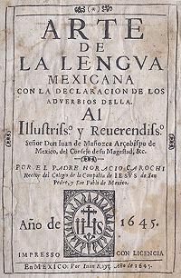 Arte de la lengua mexicana con la declaración de los adverbios della cover