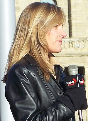 CICT-DT - Carolyn Kury de Castillo reporting for Global Calgary at City Hall in 2008.