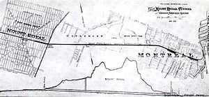 Mount Royal Tunnel - Plan of the Mount Royal Tunnel linking Mount Royal, Quebec (west) to Downtown Montreal (east)