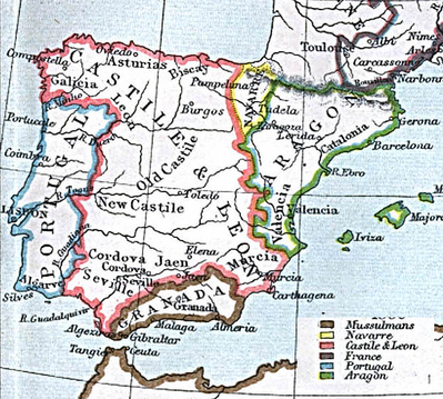 The five kingdoms of Iberia in 1360. The territory of the Emirate of Granada was reduced by 1482, as it lost its grasp on Gibraltar and other western territories.
