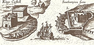 Castle Roads - Illustration from John Smith's 1624 map of Bermuda, from The Generall Historie of Virginia, New-England, and the Summer Isles, showing Castle Roads.