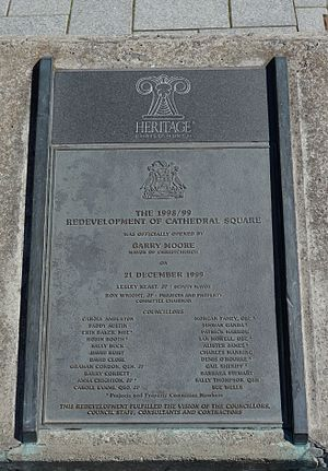 Denis O'Rourke - Plaque commemorating the redevelopment of Cathedral Square in 1998/99, with O'Rourke listed as one of the councillors