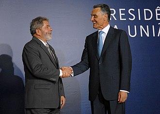 Aníbal Cavaco Silva - President Cavaco Silva meets the President of Brazil, Lula da Silva, in 2007.