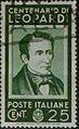 Centenario Giacomo Leopardi - valore da 25 cent - italian stamp - 1937 - serie centenari di uomini illustri.jpg