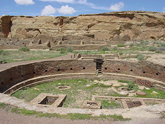 Trail of the Ancients Scenic Byway (New Mexico) - Image: Chaco Canyon Chetro Ketl great kiva plaza NPS