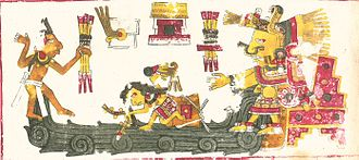 Chalchiuhtlicue - Chalchiuhtlicue in Codex Borgia, page 65. Chalchiuhtlicue pictured at right.