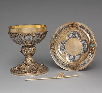 The Cloisters - Chalice, paten and straw, made of silver, gilded silver, niello and jewels. Münstertal, Black Forest, Germany, c. 1230–50. From the collection of Joseph Brummer
