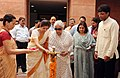Chandresh Kumari Katoch lighting the lamp to inaugurate the 'Resurgence'- an Exhibition of Classic Collection of Indian Embroideries, organized by IGNCA, in New Delhi on September 02, 2013.jpg