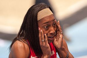 2014 IAAF World Indoor Championships – Women's 800 metres - Chanelle Price after winning the final