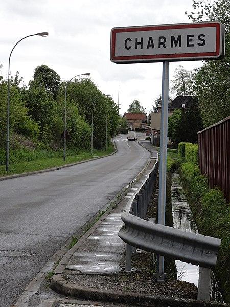Charmes (Aisne) city limit sign