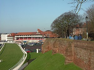Chester Racecourse - The racecourse stands, with the city walls visible in the right of the image.