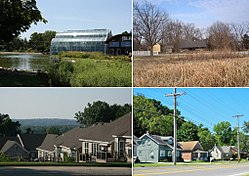 From top left: Butterfly House, Faust Park, Residential area, Old Chesterfield