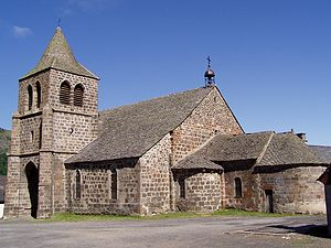 The church of the village of Cheylade in Auvergne (France.