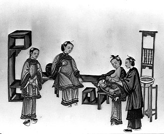 Postpartum confinement - Chinese painting of a woman breastfeeding her baby, surrounded by supporters