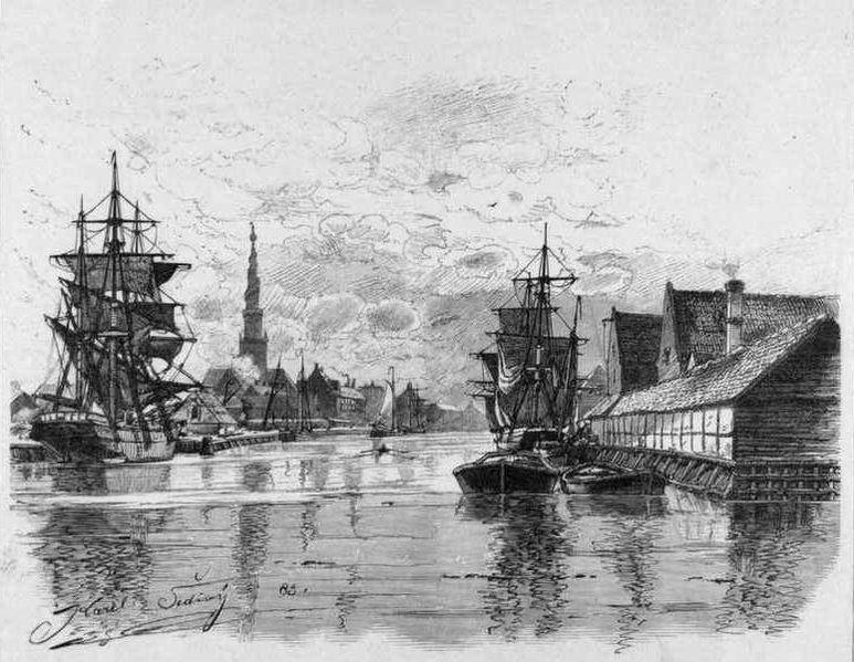 Canal de Christianshavn à Copenhague en 1883.