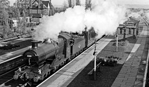 Churchdown railway station - Cheltenham - Paddington express passing Churchdown station in 1961