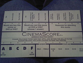 CinemaScore - A CinemaScore survey card