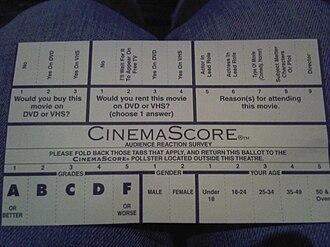 CinemaScore - A CinemaScore survey card