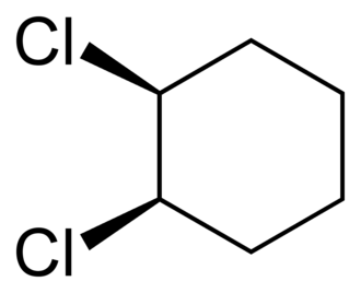 Cis–trans isomerism - Image: Cis 1,2 dichlorocyclohexane 2D skeletal