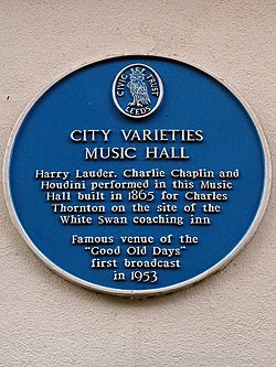 Photo of Charlie Chaplin, Harry Lauder, Harry Houdini, City Varieties, and 2 other