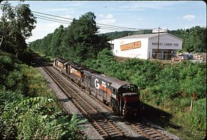 Sunbury Line - The eastern starting point of the Nicholson Cutoff (milepost 152) in Clarks Summit in 1989 shows three Guilford Rail System pusher units awaiting their next assignment after pushing a long freight up the grade from Scranton, Pennsylvania.