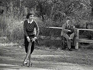 Pre-Code Hollywood - A famous scene from It Happened One Night, in which Claudette Colbert hitchhikes using an unorthodox method to attract a ride, after Clark Gable's failure to get one with his thumb.
