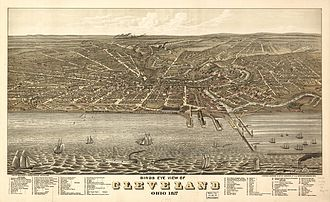 Cleveland - Bird's-eye view of Cleveland in 1877