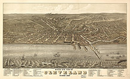 Bird's-eye view of Cleveland in 1877. Cleveland 1877.jpg