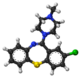 Clotiapine - Image: Clotiapine ball and stick model