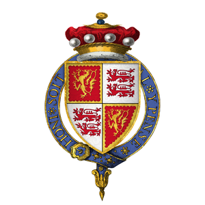 Baron Strange of Blackmere - Arms of Sir John Talbot, 10th Baron Strange of Blackmere, at the time of his installation into the Most Noble Order of the Garter