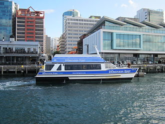 Ferries in Wellington - The ferry Cobar Cat at Queens Wharf