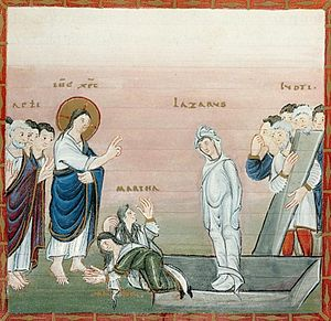 "Ottonian art - Codex Egberti, Resurrection of Lazarus, ""Ruodprecht group"""
