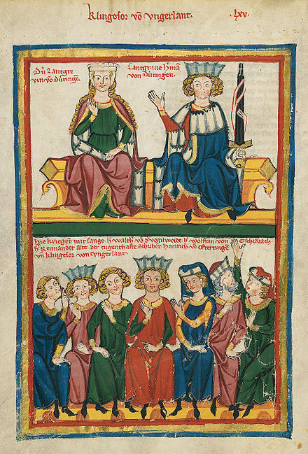 Walther is one of the contestants in this depiction in the Codex Manesse of the Sangerkrieg Codex Manesse Sangerkrieg auf der Wartburg.jpg
