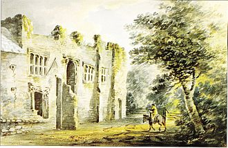 "Colcombe Castle - ""Colecombe Castle"", watercolour by Rev. John Swete dated 27 January 1795. Swete wrote: ""Standing by the door of (the farmhouse) I took the...sketch which will give some notion of the front and which seems to have been the principal one with an aspect to the west...(with) Colyton to the left"". Devon Record Office 564M/F7/77"