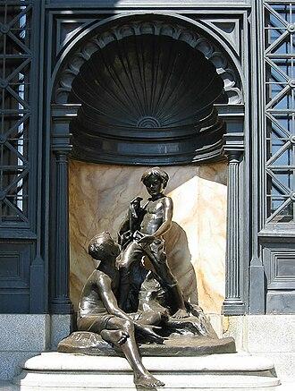 """Public bathing - Alfred Laliberté's """"Les petits Baigneurs"""", 1915 restored 1992 at Maisonneuve public baths, Montreal, Quebec"""