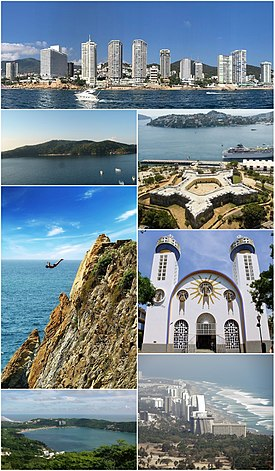 Top, from left to right: Acapulco Bay, The Huntress Diana Fountain, Fort of San Diego, the tourist area of Acapulco Diamante, the bay of Puerto Marques, Our Lady of Solitude Cathedral, La Quebrada, the Island of La Roqueta and panoramic view of the bay.