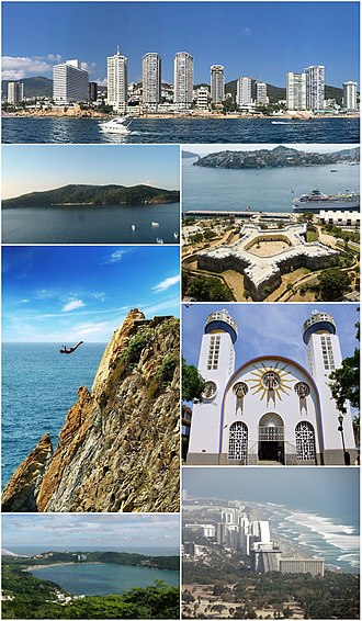 Acapulco - Top, from left to right: Acapulco Bay, The Huntress Diana Fountain, Fort of San Diego, the tourist area of Acapulco Diamante, the bay of Puerto Marques, Our Lady of Solitude Cathedral, La Quebrada, the Island of La Roqueta and panoramic view of the bay.