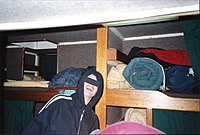 Conception bunk room showing the underside of the escape hatch from Summer 1995.jpg