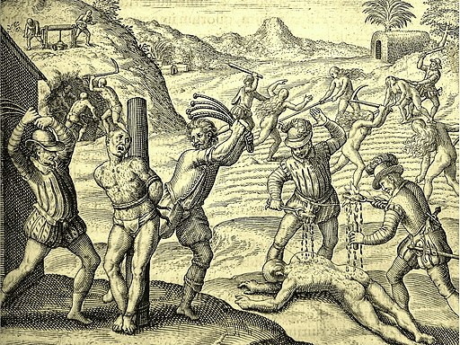 Conquistadors' abuses of Amerindians (1598 edition for las Casas' book)