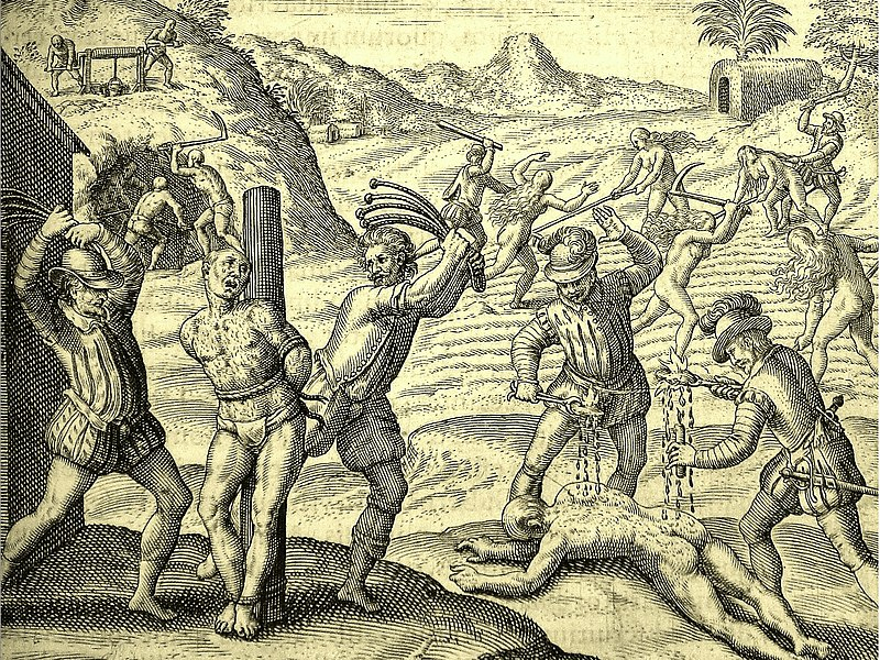 Illustration from the 1598 edition for Bartolome de las Casas' book depicting Conquistadors' abuses of Amerindians.