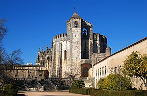 Tomar - View of the round Templar church (12th century) of the Convent of the Order of Christ