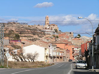 Battle of the Ebro - View of Corbera d'Ebre with the ruins of the old town that was destroyed during the Battle of the Ebro and kept as a memorial